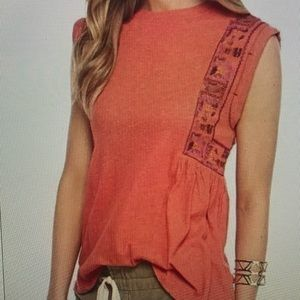 Free People Marcy Embroidered Sleeveless Top